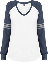 District Made Ladies' Game LS V-Neck T-Shirt