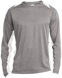 Sport-Tek Mens LS Heather Colorblock Poly T-Shirt